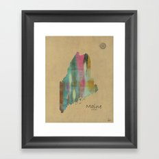 Maine state map Framed Art Print