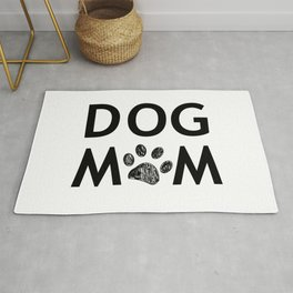 Black paw print with hearts. Dog mom text. Happy Mother's Day background Rug
