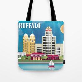 Buffalo, New York - Skyline Illustration by Loose Petals Tote Bag
