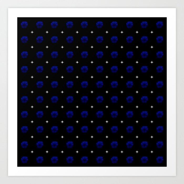 White stars dark blue flowers grid Art Print