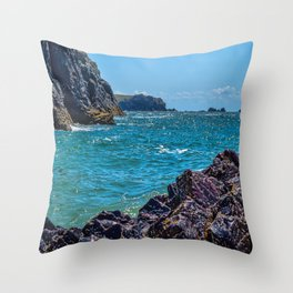 Kynance Cove - Cool Waters Throw Pillow