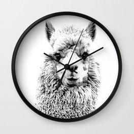 Llama, Llama Face, Black and White, Animal Art Wall Clock