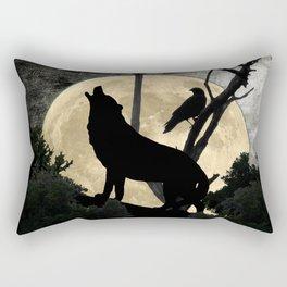 Howling Wolf Crow Moon Animal Black Bird Silhouette Art A388 Rectangular Pillow