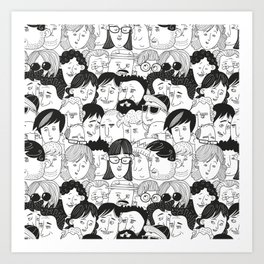 Colorful People Faces Pattern Art Print