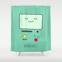 bmo Shower Curtains featuring Adventure! BMO by CLOD