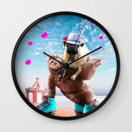Pug Sloth - Cute Funny Pug Riding Skating Sloth Wall Clock