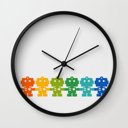 Rainbow Robots Holding Hands Wall Clock