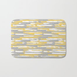 Colorful Stripes, Abstract Art, Yellow and Gray Bath Mat