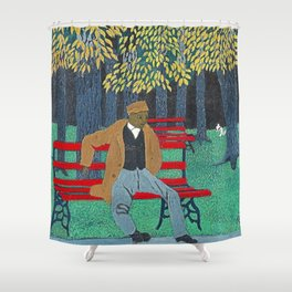 African American Masterpiece 'Man on a Bench' by Horace Pippin Shower Curtain