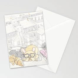 French Bulldogs Breakfast with Paris Rooftops View Stationery Cards