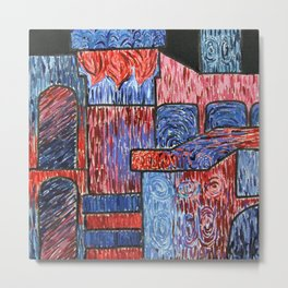 Untitled #59 Red & Blue Metal Print