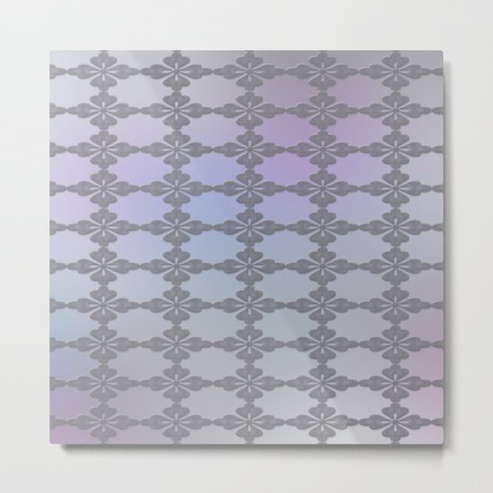 Soft Ornate Grid Pattern Metal Print