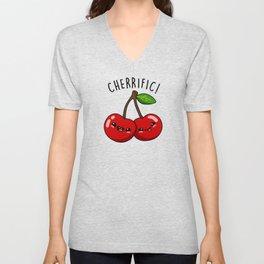 Cherrific Cute Cherry Fruit Pun Unisex V-Neck