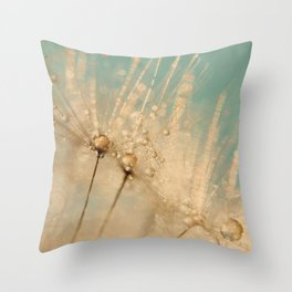 dandelion gold and mint Throw Pillow