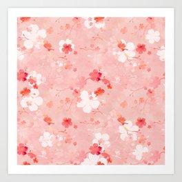 Peach pink Chinese cherry blossom Art Print