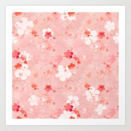 Peach pink Chinese cherry blossom Art Print