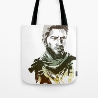 uncharted Tote Bags featuring NEW Uncharted 3 by James Brunner