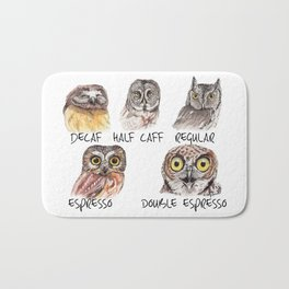 Owl Caffeine Meter -  funny owl coffee Bath Mat