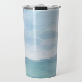 Mint Blue White Gray Abstract Wall Art Painting Travel Mug