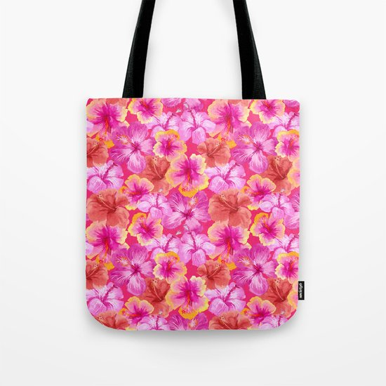 Tropical hibiscus flowers flower floral pattern on pink Tote Bag