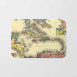 Vintage Map of The Caribbean (1898) Bath Mat