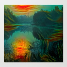 Fog on the silent river in the early morning Canvas Print