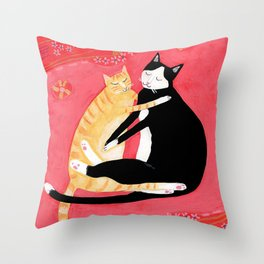 Cats on a rug Tuxedo cat and Orange Tabby by Tascha Throw Pillow