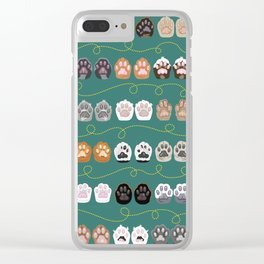Toe Beans on Green / Cat Paws Clear iPhone Case