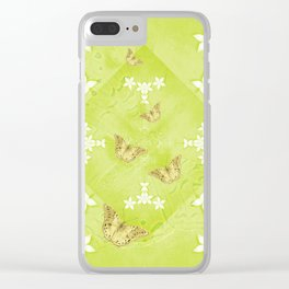 The Queen butterfly and gold butterflies in vibrant green Clear iPhone Case