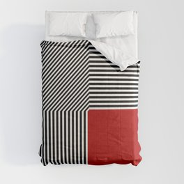 Geometric abstraction, black and white stripes, red square Comforters