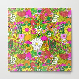 60's Groovy Garden in Lime Green Metal Print