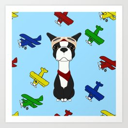 Bobble Pilot Boston Terrier Art Print