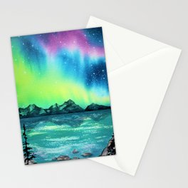 """""""Northern Lights"""" watercolor landscape painting Stationery Cards"""