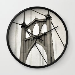 ST. JOHNS BRIDGE - PORTLAND OREGON - IN BLACK & WHITE Wall Clock