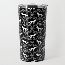 Chinese Crested silhouettes florals pet gifts unique dog breeds art black and white Travel Mug