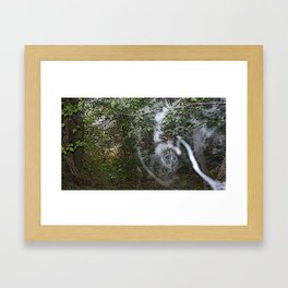 Through the wood line. Framed Art Print
