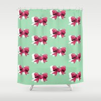 mew Shower Curtains featuring Strawberry Bow by milksuds