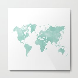 Mint Colored World Map Metal Print