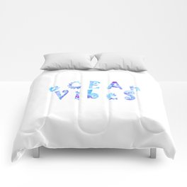 oCEAn VibeS | Tropical Cyan Teal & Magenta Watercolor Comforters