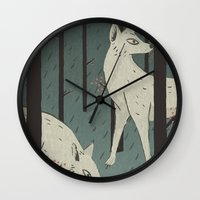 wolves Wall Clocks featuring Wolves by James White