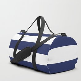 Navy Blue and White Stripes Duffle Bag