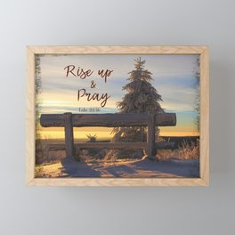 Rise up and Pray Verse Quote Snow Sunrise Framed Mini Art Print