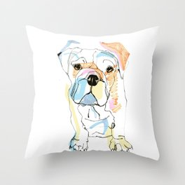 Bulldog Colour Throw Pillow