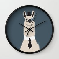lama Wall Clocks featuring Sir Lama by Ronja Levinsson