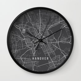 Hanover Map, Germany - Gray Wall Clock