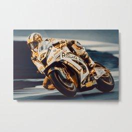 Motorcycle Racer Metal Print