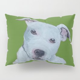 Pit Bull Terrier Puppy Portrait on Green Pillow Sham