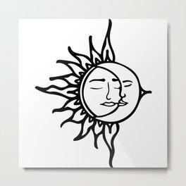 Sun with Moon Metal Print
