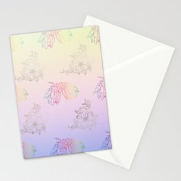 Gentle ombre metallic flowers Stationery Cards