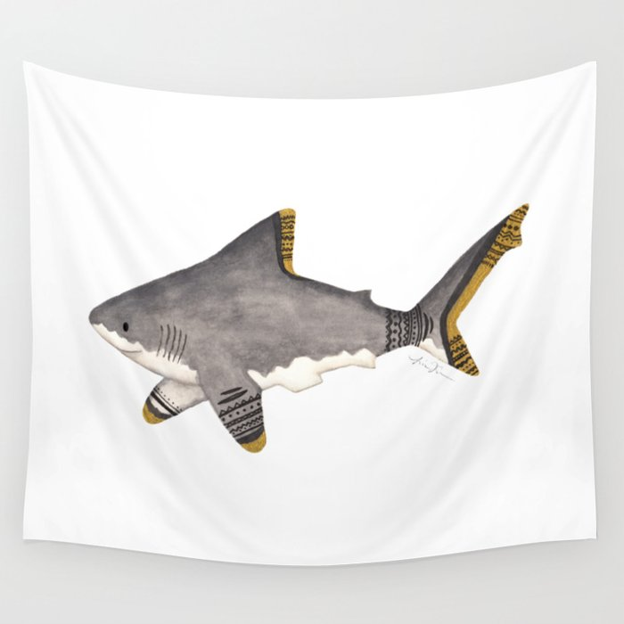 516356459d86 Tribal Shark Wall Tapestry by lindusmaximus86